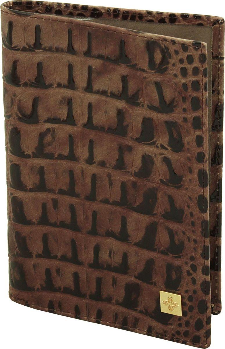 Обложка для паспорта женская Dimanche Loricata Brun, цвет: коричневый. 450/8450/8_коричневыйЭлегантная обложка для паспорта из натуральной кожи с оригинальным украшением. На внутреннем развороте два кармана из прозрачного пластика.