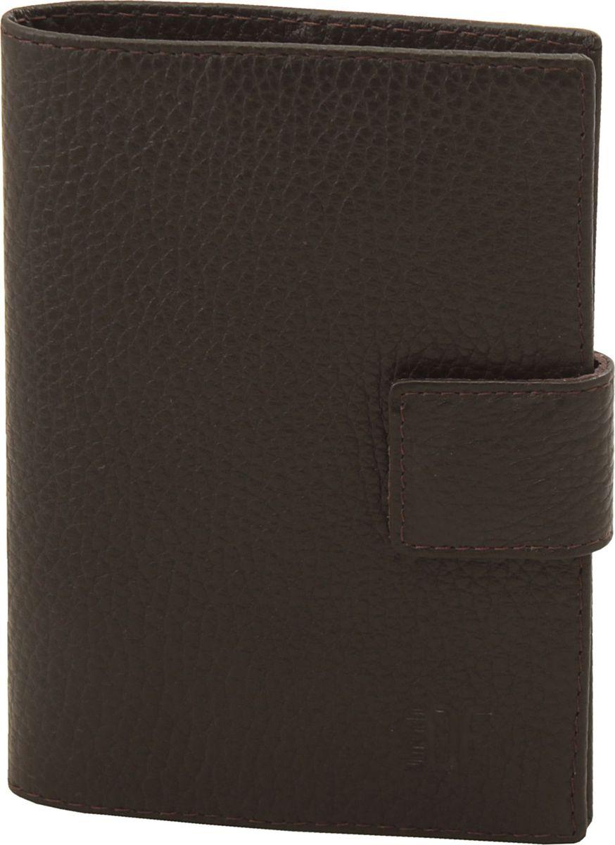 Обложка для паспорта мужская Dimanche Street Brun, цвет: коричневый. 325325_коричневыйОбложка на подкладке с кожаными карманами внутри,закрывается на кнопку хлястиком.