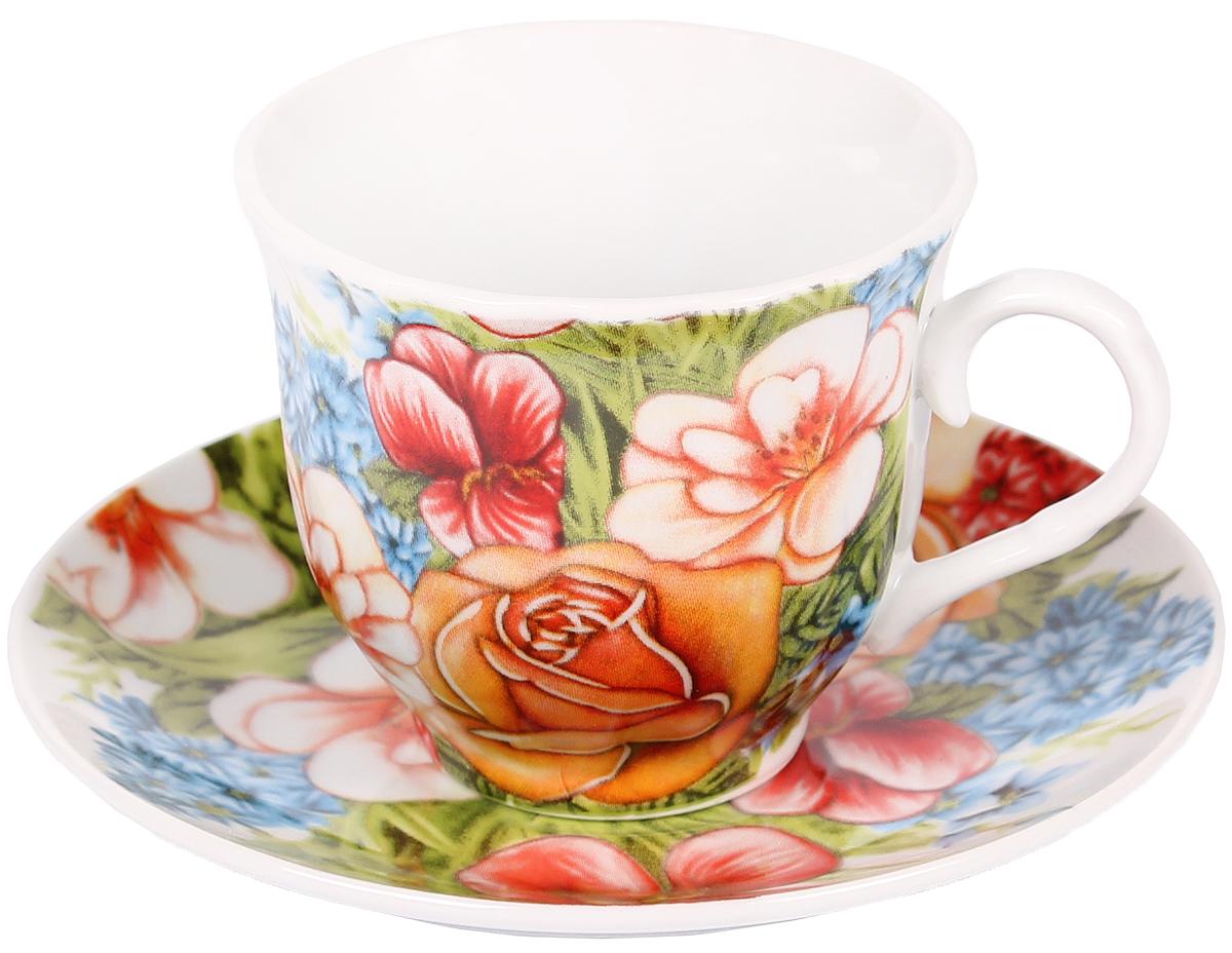 Чайная пара Bella, 2 предмета. DL-F1GB-022DL-F1GB-022Чайная пара Bella состоит из чашки и блюдца, изготовленных из высококачественного фарфора. Оригинальный яркий дизайн, несомненно, придется вам по вкусу. Чайная пара Bella украсит ваш кухонный стол, а также станет замечательным подарком к любому празднику. Объем чашки: 220 мл.