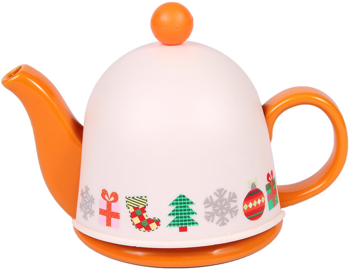 Чайник заварочный Bella, с термоколпаком, с фильтром, 450 млSFYT027S-08Заварочный чайник Bella, выполненный из высококачественной керамики, позволит вам заварить свежий, ароматный чай. Чайник оснащен сетчатым металлическим фильтром. Он задерживает чаинки и предотвращает их попадание в чашку. Сверху на чайник одевается термоколпак из пластика. Внутренняя поверхность термоколпака отделана теплосберегающей тканью. Он поможет дольше удерживать тепло, а значит, вода в чайнике дольше будет оставаться горячей и пригодной для заваривания чая. Заварочный чайник Bella эффектно украсит стол к чаепитию, а также послужит хорошим подарком для ваших друзей и близких.