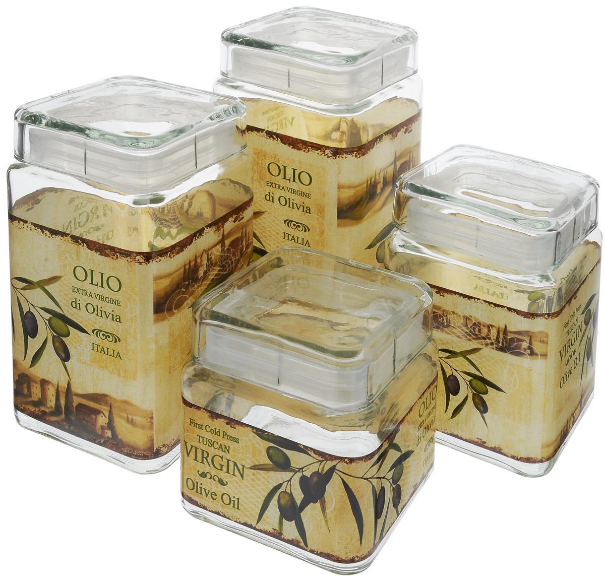 Набор банок для сыпучих продуктов SinoGlass, 4 предмета. 9356C009356C00Набор SinoGlass состоит из четырех банок разного объема, предназначенных для хранения сыпучих продуктов. Изделия выполнены из высококачественного стекла и декорированы изображением оливок. Крышки оснащены силиконовыми вставками, которые позволяют герметично закрывать емкости и сохранить свежесть продуктов. Банки прекрасно подходят для круп, орехов, сухофруктов, чая, кофе, сахара и многого другого. Оригинальный и необычный дизайн набора SinoGlass прекрасно впишется в интерьер вашей кухни. А также станет желанным подарком для любой хозяйки. Объем первой банки: 800 мл. Размер первой банки: 10 х 10 х 11 см. Объем второй банки: 1,1 л. Размер второй банки: 10 х 10 х 15 см. Объем третьей банки: 1,6 л. Размер третьей банки: 10 х 10 х 19 см. Объем четвертой банки: 1,9 л. Размер четвертой банки: 10 х 10 х 22,5 см.