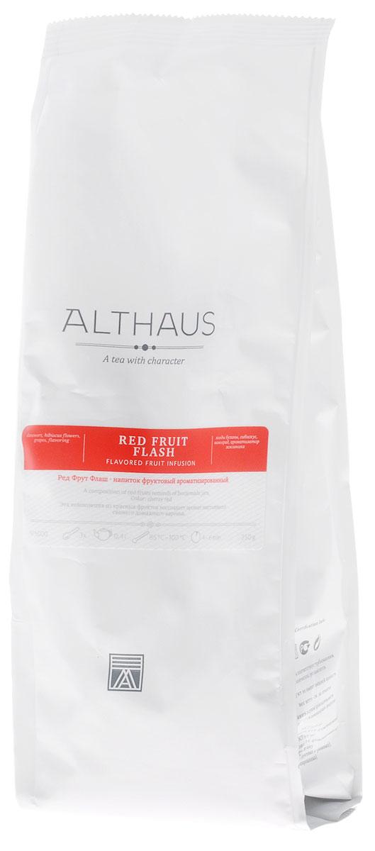 Althaus Red Fruit Flash фруктовый листовой чай, 250 гTALTHF-L00045Ред Фрут Флаш — замечательная композиция из садовых и лесных ягод и гибискуса с ароматом свежего домашнего варенья. В состав Ред Фрут Флаш входят черника, черная смородина, голубика, бузина и темно-рубиновые лепестки каркаде. Этот уникальный фруктовый купаж обладает ярким цветочно-ягодным ароматом с едва уловимым медовым оттенком. При заваривании конфетная сладость раскрывается в богатый букет со множеством выразительных нюансов. В нем угадывается теплая сладость пенки от ягодного варенья и глубокие тона черных лесных ягод. Вкус Ред Фрут Флаш полный, насыщенный, прекрасно сбалансированный, с приятной гранатовой кислинкой. В букете этого напитка доминируют фруктово-ягодные ноты с оттенком спелых вяленых абрикосов и изюма. Ред Фрут Флаш можно пить не только в горячем, но и в холодном виде со льдом. Температура воды: 85-100 °С Время заваривания: 4-6 мин Цвет в чашке: насыщенный темно-вишневый