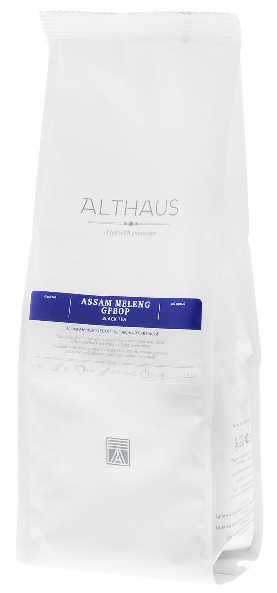 Althaus Assam Meleng GFBOP черный листовой чай, 250 гTALTHL-L00072Ассам Меленг GFBOP — классический индийский черный чай из всемирно известного штата Ассам, выращенный на равнинах в долине великой реки Брахмапутры. Маркировка GFBOP (Golden Flowery Broken Orange Pekoe) указывает на среднелистовой чай высокого качества с большим количеством типсов. Сухие чаинки насыщенного шоколадного цвета источают сладкий аромат с фруктовой нотой. При заваривании среднелистовой чай получается более крепким, чем крупнолистовой. Ассам Меленг дает бодрящий свежий настой с насыщенным приятным вкусом и мягким солодовым оттенком. В его пряном, немного цветочном аромате ощущаются необычные для черного чая медовые нотки. Несмотря на свой терпко-вяжущий вкус, в целом этот чай более мягкий и бархатистый, чем традиционные цейлонские сорта. Цвет правильно заваренного ассамского чая иногда называют цветом бисквитной корочки — это очень яркий, насыщенный красновато-коричневый цвет. Благодаря своей особой терпкости этот чай хорошо сочетается с...