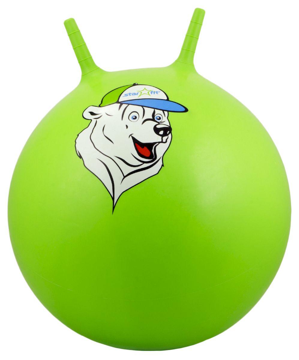 """Мяч-попрыгун Starfit """"Медвежонок"""", с рожками, цвет: зеленый, белый, синий, диаметр 65 см УТ-00007243"""