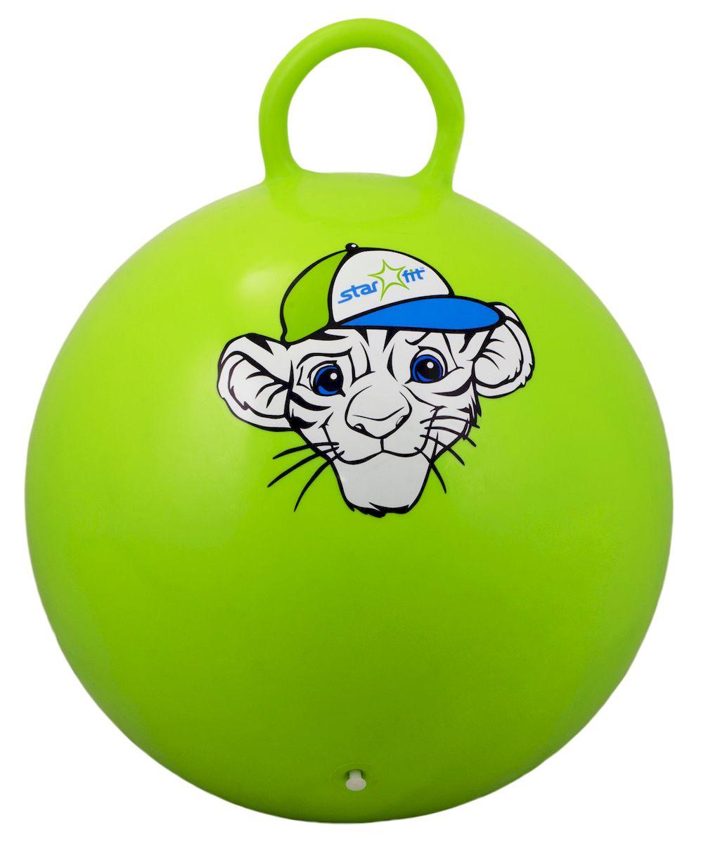 Мяч-попрыгун Starfit Тигренок, с ручкой, цвет: зеленый, белый, голубой, диаметр 55 смУТ-00007264Мяч-попрыгун Star Fit Тигренок предназначен для гимнастических и медицинских целей в лечебных упражнениях. Оснащен ручкой. Мяч прекрасно подходит для использования в домашних условиях. Данный мяч можно использовать для: реабилитации после травм и операций, стимуляции и релаксации мышечных тканей, улучшения кровообращения, лечении и профилактики сколиоза, при заболеваниях или повреждениях опорно-двигательного аппарата. Максимальный вес пользователя: 200 кг.