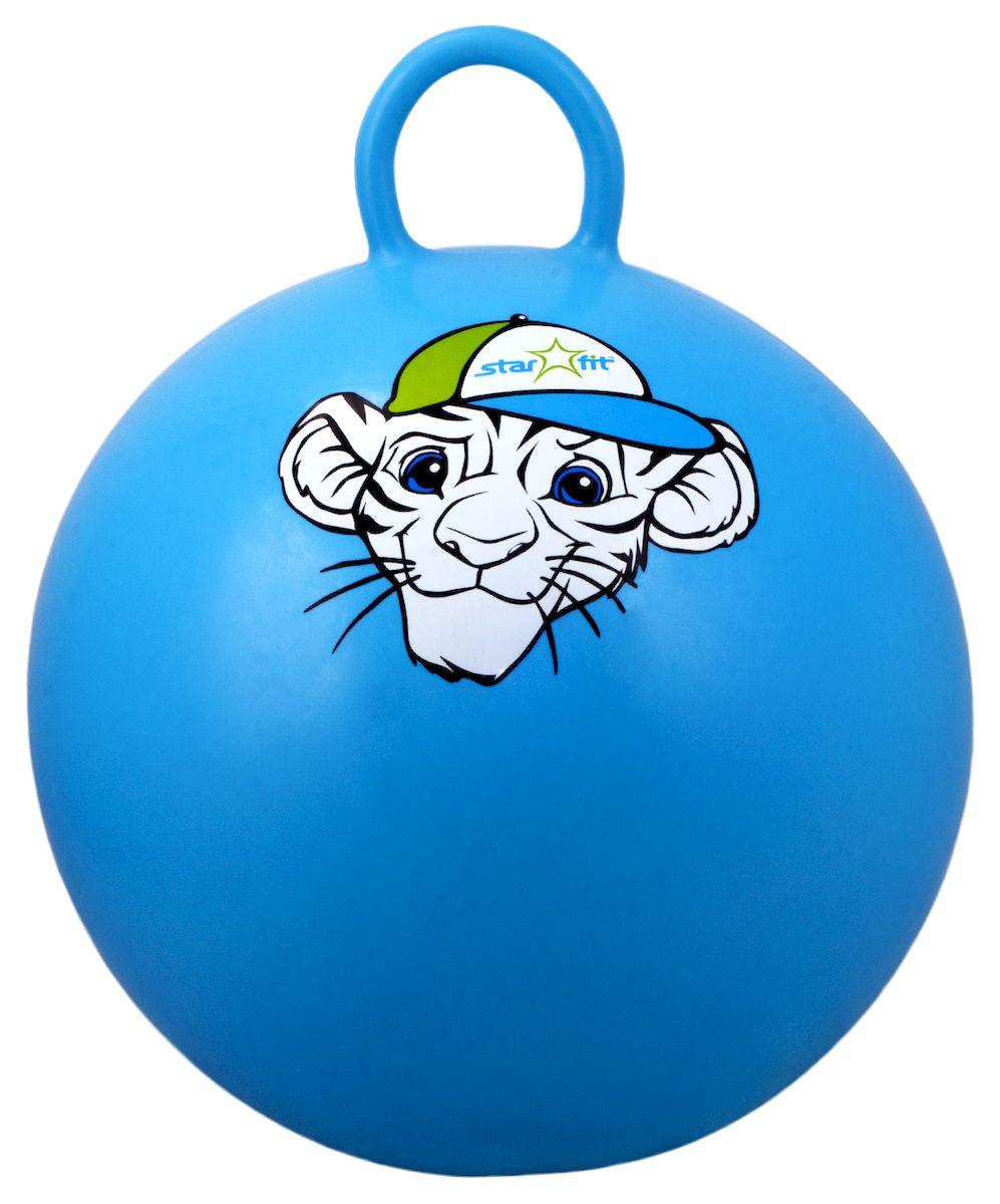 Мяч-попрыгун Starfit Тигренок, с ручкой, цвет: синий, белый, зеленый, диаметр 55 смУТ-00007265Мяч-попрыгун Star Fit Тигренок предназначен для гимнастических и медицинских целей в лечебных упражнениях. Оснащен ручкой. Мяч прекрасно подходит для использования в домашних условиях. Данный мяч можно использовать для: реабилитации после травм и операций, стимуляции и релаксации мышечных тканей, улучшения кровообращения, лечении и профилактики сколиоза, при заболеваниях или повреждениях опорно-двигательного аппарата. Максимальный вес пользователя: 200 кг.