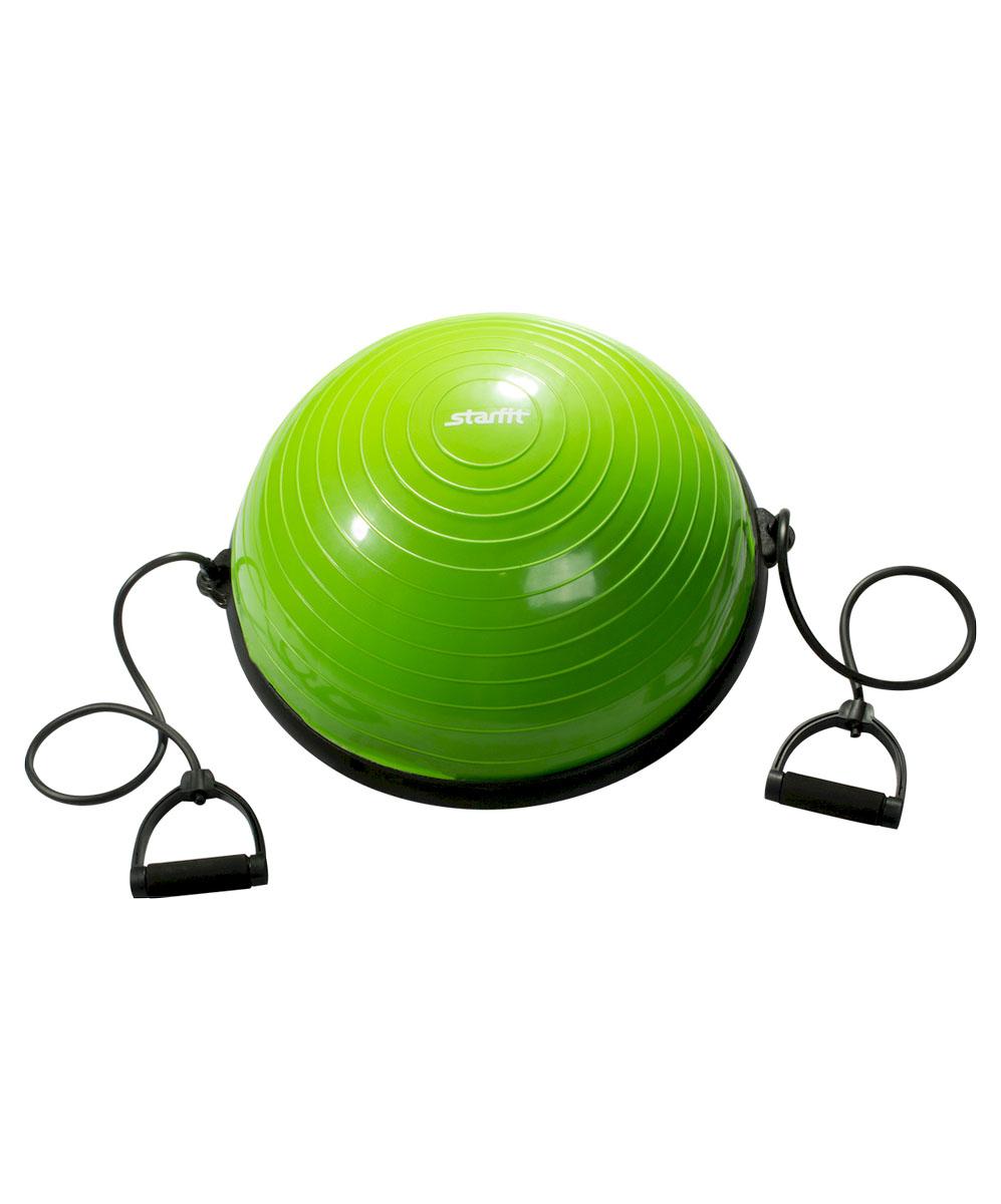 Полусфера спортивная Starfit BOSU, с эспандерами, цвет: зеленый, черный, диаметр 58 смУТ-00007270Тренажер Star Fit BOSU - это полусфера для занятия спортом. Если человек хочет похудеть, развивать баланс, вестибулярный аппарат, сердечно-сосудистую систему, укреплять связочный аппарат ног, то BOSU необходимый для использования аксессуар. Его используют как новички, чтобы похудеть, так и профессиональные спортсмены, восстанавливающиеся после сложных операций на коленных суставах.
