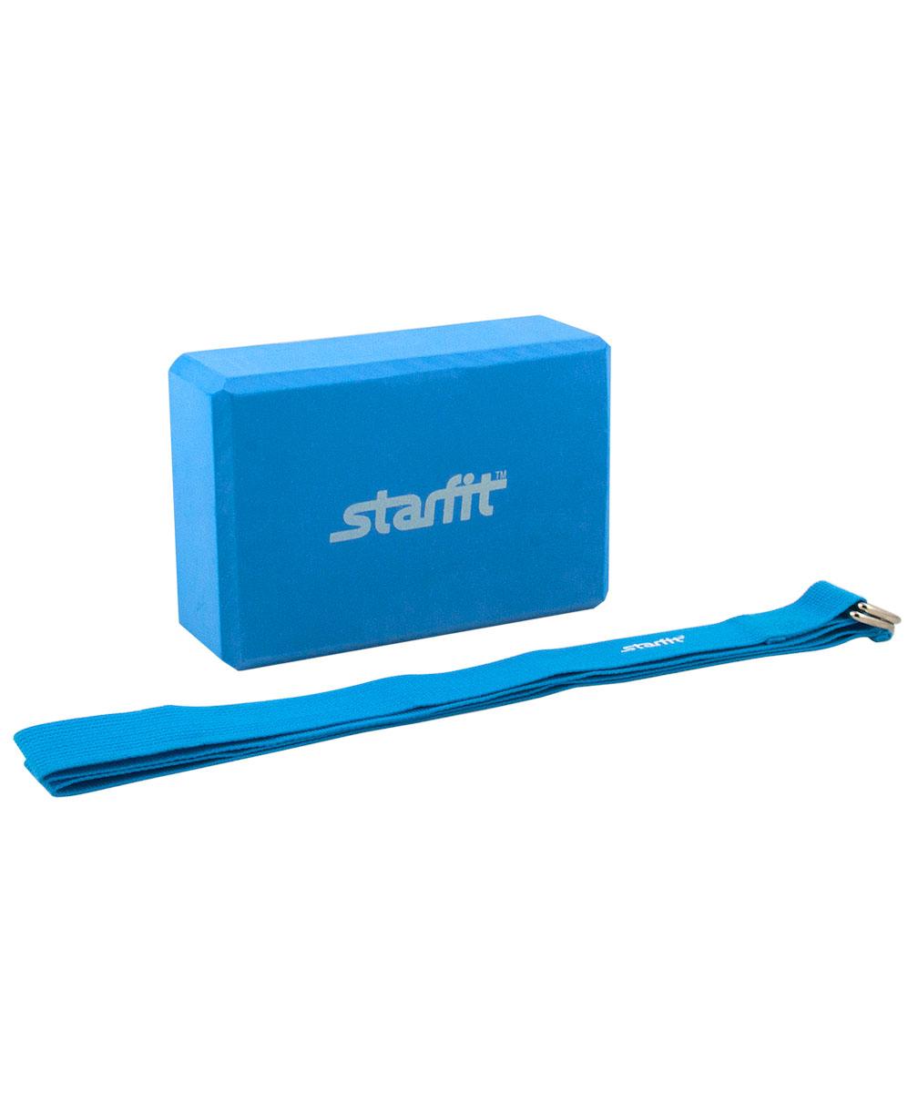 Комплект из блока и ремня для йоги Starfit FA-104, цвет: синийУТ-00008966Комплект из блока и ремня для йоги FA-104 - это набор аксессуаров для йоги Star Fit, включающий в себя блок и ремень для йоги. Блок для йоги Star Fit используется как новичками, так и продвинутыми пользователями. Важной особенностью является возможность переворачивания блока различными сторонами (на торец, на узкую или на широкую сторону) в зависимости от потребностей практики.Ремень Star Fit поможет выполнить упражнения при недостаточной растяжке мышц и связок, а также будет помощником в позициях в йоге. Аксессуар, необходимый для выполнения сложных упражнений, требующих максимальной гибкости и сноровки. Характеристики: Блок: Габариты, см (ДхШхТ): 22,5 х 15 х 7,8 Материал: EVA Цвет: синий Производство: КНР Ремень: Материал: текстиль Цвет: синий Длина, см: 186 Ширина, см: 3,8 Производство: КНР