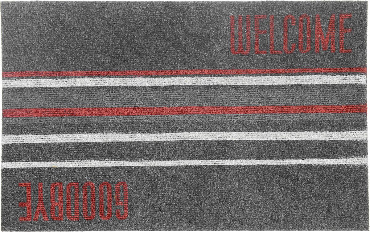 """EFCO (Egyptian fibers company) Коврик придверный EFCO """"Нью Эден"""", цвет: красный, серый, бежевый, 68 х 45 см 18420_серый-полоска"""