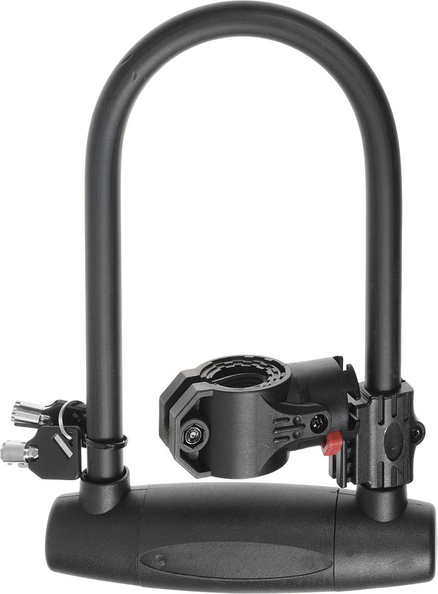 Замок велосипедный HandyWay, U-образный, 26 смUL-807 W/BL-718Велосипедный замок HandyWay - это отличная вещь для сохранности вашего велосипеда. Дуга выполнена из высококачественной твердой стали. Цилиндр используется с круглым ключом с 7 стержнями. Опорный кронштейн имеет запатентованный дизайн. Длина замка: 26 см.