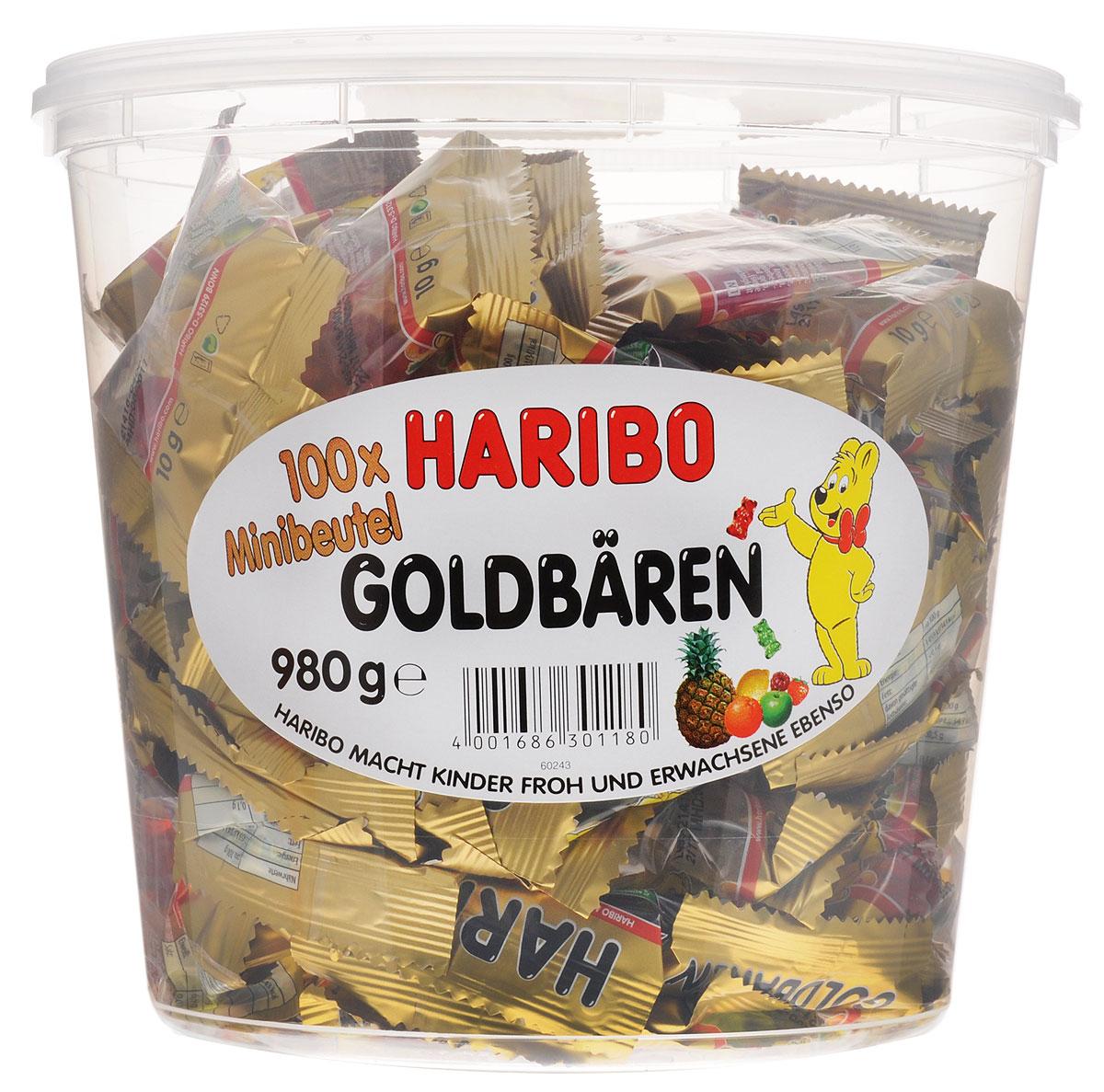Haribo Золотые мишки-мини мармелад жевательный, 980 г30121DHaribo Золотые мишки-мини – это тот же хорошо знакомый мармелад, только в компактном формате. Много маленьких пакетиков по 9,8 г – это отличное решение для вечеринки или детского праздника, где можно каждого угостить этим мармеладом в индивидуальной упаковке!