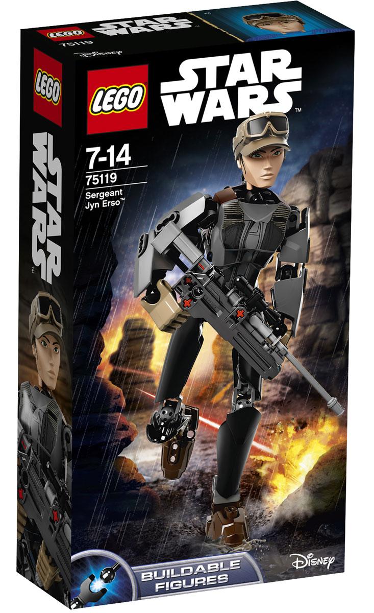 LEGO Star Wars Конструктор Сержант Джин Эрсо 7511975119Конструктор LEGO Сержант Джин Эрсо из серии Star Wars позволит вашему ребенку собрать персонажа из знаменитой вселенной, созданной Джорджем Лукасом. У сурового сержанта повстанцев есть всё, что нужно для свержения Империи. Собери модель, заряди бластер, взведи курок и выстрели из этого нового оружия с пружинным механизмом! Потом возьми дубинку и поверни колёсико, чтобы активировать боевую функцию вращения руками. Джин Эрсо готова к свержению Империи. Конструктор LEGO Star Wars Сержант Джин Эрсо включает в себя 104 разноцветных пластиковых элемента. Конструктор станет замечательным сюрпризом вашему ребенку, который будет способствовать развитию мелкой моторики рук, внимательности, усидчивости и мышления. Играя с конструктором, ребенок научится собирать детали по образцу, проводить время с пользой и удовольствием.