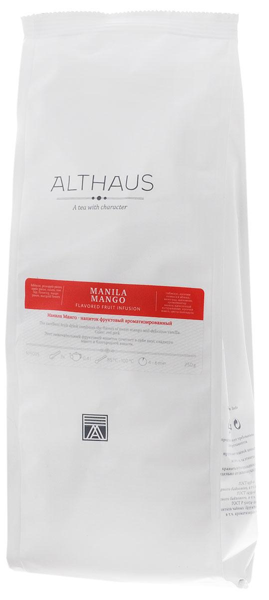 Althaus Manila Mango фруктовый листовой чай, 250 гTALTHF-L00046Манила Манго — прекрасный фруктовый напиток с кусочками филиппинского манго и ананаса, наполненный ароматами лета и сладостью благородной ванили. Манило Манго — это знойный южный чай с экспрессивным характером и интересной многогранной палитрой ароматов. Во Время заваривания его яркий приторно-цветочный запах смягчается свежестью тропических фруктов и бархатистыми оттенками спелого шиповника. В букете яблочный аромат с нотами спелого инжира гармонично дополняется воздушными цветочными нюансами, а во вкусе переплетаются легкая сливовая кислинка и освежающая сладость солнечного манго и засахаренного ананаса. Кусочки медового яблока, шиповник, душистая черная смородина и гибискус делают этот напиток не только вкусным, но и полезным для здоровья, способным прекрасно утолить жажду в жаркий летний день. Манила Манго можно пить и в холодном виде со льдом. Температура воды: 85-100 °С Время заваривания: 4-6 мин Цвет в чашке: красно-розовый
