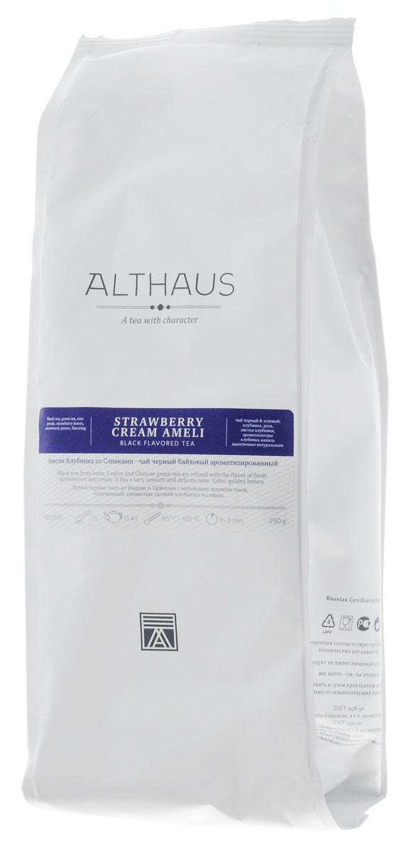 Althaus Strawberry Cream Ameli черный ароматизированный листовой чай, 250 гTALTHL-L00092Амели Клубника со Сливками — это превосходный купаж цейлонского черного чая и классической японской сенчи с кусочками сочной клубники. В его многогранном букете насыщенный вкус крепких черных сортов освежается травянистыми оттенками бархатисто-терпкого зеленого чая. Сладкий, но в то же время очень мягкий сливочно-клубничный аромат с легкой зеленой и карамельной нотой играет главную роль в этой необычной композиции. Красивый янтарный настой обладает нежным и утонченным вкусом: в нем ощущается приятная кислинка лесной земляники, свежесть только что раскрывшихся листочков и чарующий аромат розовых лепестков. Истинные гурманы найдут в этом чае все достоинства нежнейшего десерта — свежих ягод клубники в воздушном облаке взбитых сливок. Оптимальная температура заваривания: 95°С Температура воды: 85-100 °С Время заваривания: 3-5 мин Цвет в чашке: золотисто-коричневый