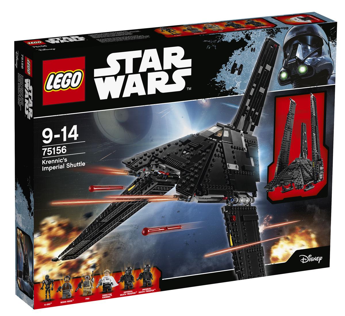 LEGO Star Wars Конструктор Имперский шаттл Кренника 7515675156Нужно надежное транспортное судно? Имперский шаттл Кренника отлично справится с этой ролью. Посадите пилота в кресло, откройте бронированный шлюз и загрузите Штурмовиков смерти. Опустите пандус и проверьте надежность крепления бластеров, затем зарядите пружинные пушки и приготовьтесь к взлету. Уберите шасси, опустите крылья и отправляйтесь выполнять новую опасную миссию! Набор включает в себя 863 пластиковых элемента. Конструктор - это один из самых увлекательных и веселых способов времяпрепровождения. Ребенок сможет часами играть с конструктором, придумывая различные ситуации и истории.