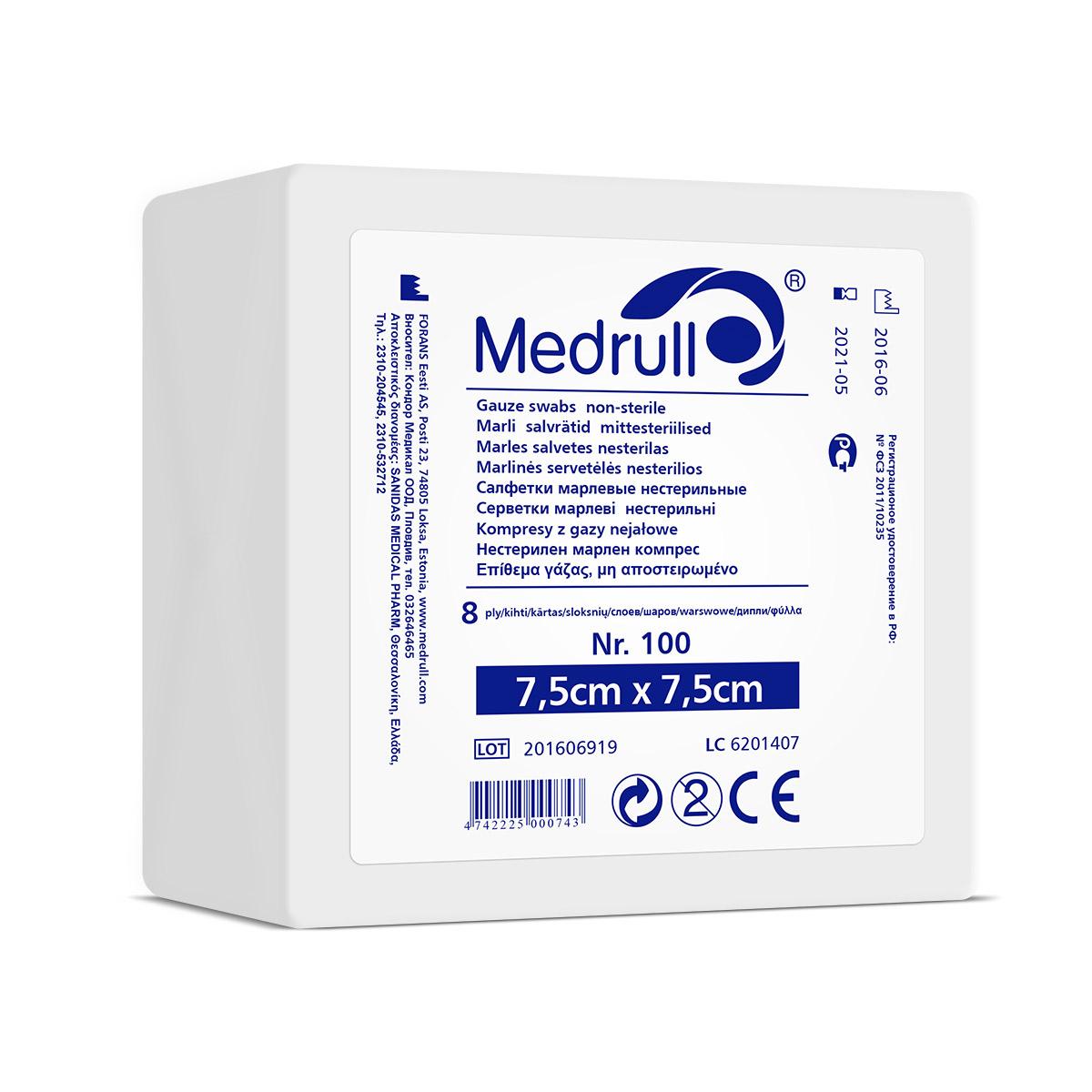 Medrull Салфетки марлевые медицинские N100, 8-слойные, нестерильные, 7,5х7,5 см4742225000743САЛФЕТКИ МАРЛЕВЫЕ НЕСТЕРИЛЬНЫЕ/8 СЛ. NR 100 Состав 100% хлопок. Структура материала 17 ниток/см2. Размер 8 сл 7,5см x 7,5см