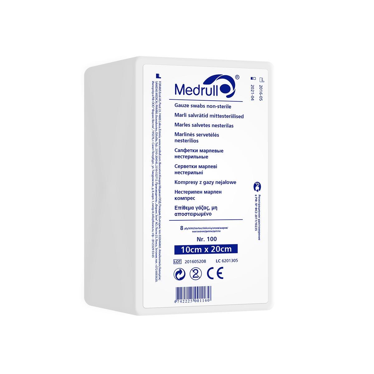 Medrull Салфетки марлевые медицинские N100, 8-слойные, нестерильные, 10х20 см4742225001160САЛФЕТКИ МАРЛЕВЫЕ НЕСТЕРИЛЬНЫЕ/8 СЛ. NR 100 Состав 100% хлопок. Структура материала 17 ниток/см2. Размер 8 сл 10см x 20см