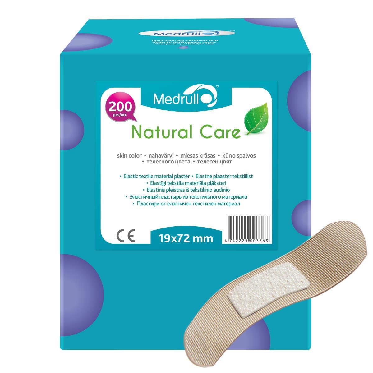 Medrull Набор пластырей Natural Care, 1,9х7,2 см, №2004742225003768Гипоаллергенные пластыри, предназначенные для людей, кожа которых, чувствительна к факторам окружающей среды. Пластыри изготовлены из приятного для кожи эластичного,текстильного материала, в состав которого входит - 65% хлопок, 35% полиамид, благодаря чему, возможность появления аллергии снижена до минимума. Свойства пластыря: грязенепроницаемые, гипоаллергенные, эластичные, дышащие, плотно прилегающие. Абсорбирующая подушечка изготовлена из вискозы и обладает высокой впитываемостью. Верхняя часть подушечки обработана полипропиленом, что защищает от вероятности прилипания пластыря к поврежденной поверхности кожи.