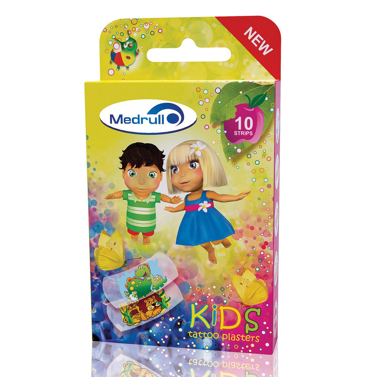 Medrull Лейкопластыри медицинские детские в стрипах Kids Tattoo4742225005762Водонепроницаемые, грязенепроницаемыe, прозрачные тонкие пластыри с веселым рисунком тату, обязательно понравятся детям. Пластыри изготовлены из эластичного полиуретанового материала, гипоаллергенны. Абсорбирующая подушечка изготовлена из вискозы и обладает высокой впитываемостью. Верхняя часть подушечки обработана полипропиленом, что защищает от вероятности прилипания пластыря к поврежденной поверхности кожи.