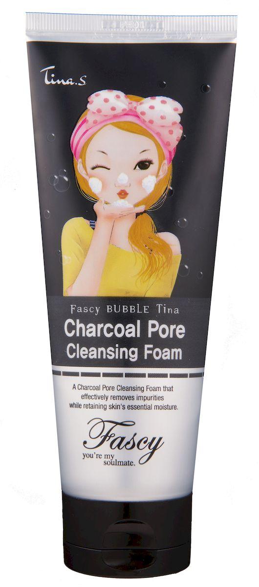 Fascy Пенка для глубокого очищения кожи лица с древесным углем BUBBLE Tina Charcoal Pore Cleansing Foam, 150 мл