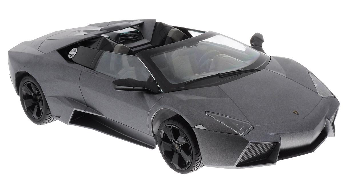 Rastar Радиоуправляемая модель Lamborghini Reventon Roadster42300Радиоуправляемая модель Rastar Lamborghini Reventon Roadster обязательно привлечет внимание взрослого и ребенка и понравится любому, кто увлекается автомобилями. Это авто обладает неповторимым провокационным стилем и спортивным характером. Выполнена модель в масштабе 1:14. Управление машиной происходит с помощью пульта. Машинка двигается вперед и назад, поворачивает направо и налево. Имеются световые эффекты. Прорезиненные колеса игрушки обеспечивают плавный ход, машинка не портит напольное покрытие. Радиоуправляемые игрушки способствуют развитию координации движений, моторики и ловкости. Ваш ребенок увлеченно будет играть с моделью, придумывая различные истории и устраивая соревнования. Порадуйте его таким замечательным подарком! Для работы машины необходимо купить 5 батареек напряжением 1,5V типа АА (не входят в комплект). Для работы пульта управления необходимо купить батарейку типа Крона (не входит в комплект).