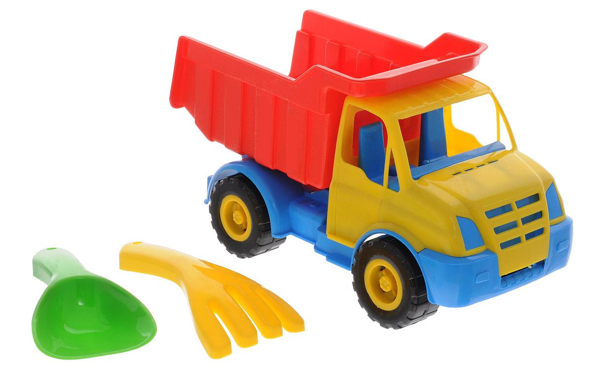Karolina Toys Набор для песочницы Крош цвет желтый красный голубой40-0043_желтый/красный/голубойНабор для игры в песочнице Karolina Toys Крош из яркого и безопасного материала. Набор состоит из самосвала, грабелек и лопатки. У самосвала откидывается кузов, колеса со свободным ходом. Грабельки и лопатка имеют удобную для детских ручек форму. С таким набором вашему малышу не придется скучать на прогулке в песочнице.