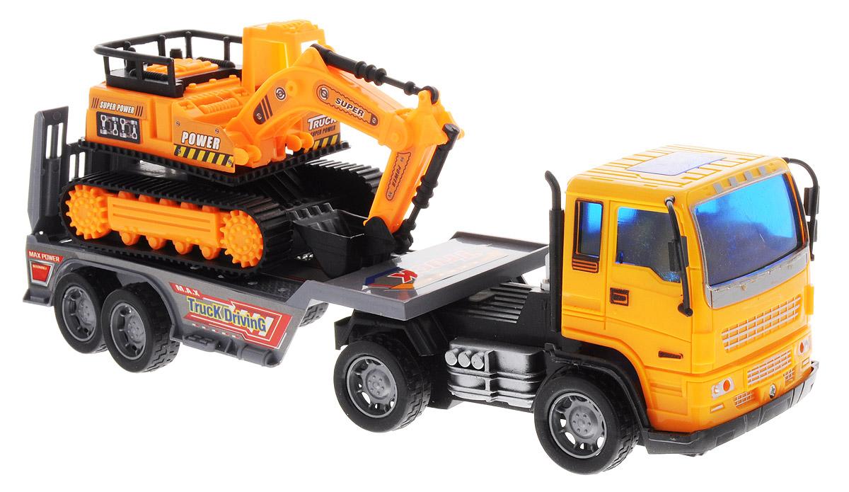 Junfa Toys Автовоз инерционный с экскаватором цвет оранжевый8268-32B_оранжевыйИнерционный автовоз с экскаватором Junfa Toys станет одной из любимых игрушек вашего ребенка. Достаточно большой и вместительный автовоз оборудован просторной площадкой для перевозки машин. Он способен уместить даже экскаватор, который входит в набор. Автовоз оснащен инерционным механизмом, что позволяет приводить машину в движение без использования батареек. У экскаватора колеса имеют свободный ход. Изделия выполнены из безопасного для ребенка материала ярких цветов. Порадуйте своего ребенка таким увлекательным подарком!