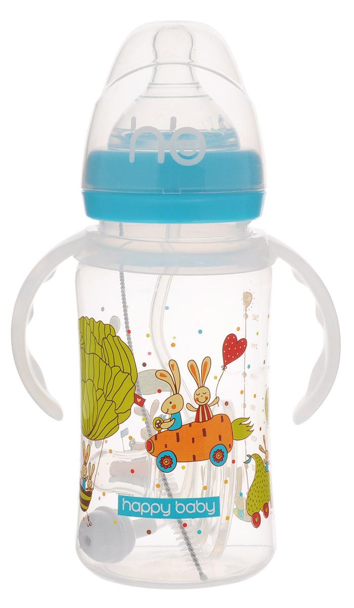 Happy Baby Бутылочка для кормления Milky Stories от 0 месяцев цвет голубой прозрачный 240 мл