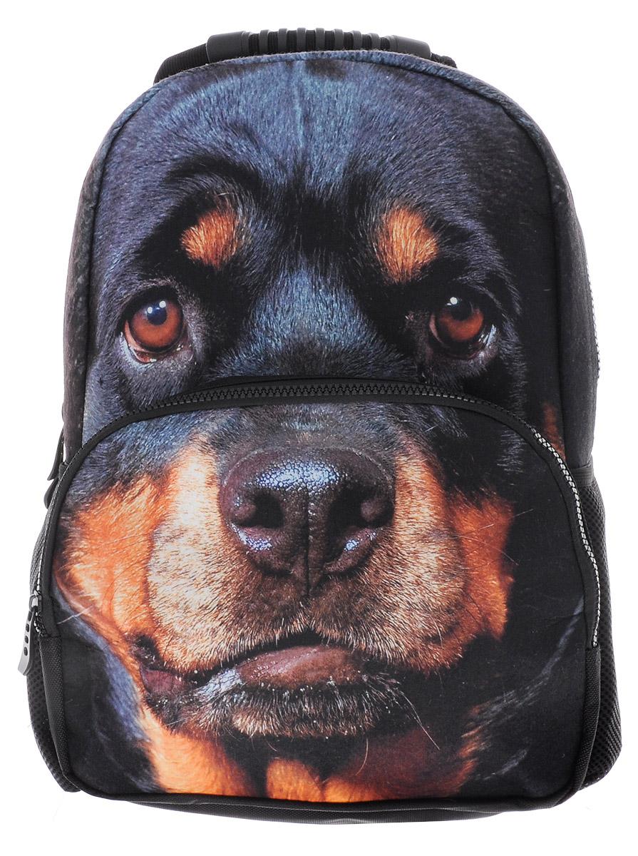 Hatber Рюкзак детский Security DogNR_00039Стильный детский рюкзак Hatber Security Dog выполнен из полиэстера и оформлен художественной печатью с изображением собаки породы ротвейлер. Рюкзак имеет одно основное отделение, закрывающееся на застежку-молнию с двумя бегунками. На лицевой стороне, рюкзака размещен накладной карман на молнии, внутри которого предусмотрен еще один накладной карман на липучке. По бокам изделия расположены два накладных сетчатых кармашка. Конструкция спинки дополнена противоскользящей сеточкой для предотвращения запотевания спины. Мягкие широкие лямки позволяют легко и быстро отрегулировать рюкзак в соответствии с ростом. Анатомическая форма лямок обеспечивает более плотную фиксацию рюкзака, предотвращая перенапряжение мышц спины. Рюкзак оснащен удобной эргономичной ручкой для переноски в руке. Этот рюкзак можно использовать школьникам, для повседневных прогулок, отдыха и спорта, а также как элемент вашего имиджа. Рекомендуемый возраст: от 6 лет.