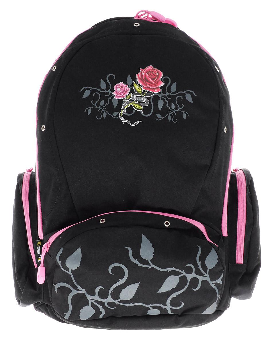 Tiger Enterprise Рюкзак детский Rose8603/TG_черный, розовыйУдобный детский рюкзак Tiger Enterprise Rose - это красивый и стильный рюкзак, который подойдет всем, кто хочет разнообразить свои школьные будни. Благодаря анатомической рельефной спинке, повторяющей контур спины и двум эргономичным плечевым ремням, длина которых регулируется, у ребенка не возникнут проблемы с позвоночником. Рюкзак выполнен из качественного и прочного материала. Рюкзак имеет одно основное отделение, которое закрывается на застежку-молнию с двумя бегунками. Внутри отделения расположен вместительный накладной карман на резинке и небольшой пришивной кармашек на молнии. По бокам рюкзака расположены два накладных кармана на молниях, на лицевой стороне - вместительный карман на молнии. Изделие оснащено удобной ручкой для переноски в руках и петлей для подвешивания. Детский рюкзак Tiger Enterprise Rose станет незаменимым спутником вашего ребенка в походах за знаниями.