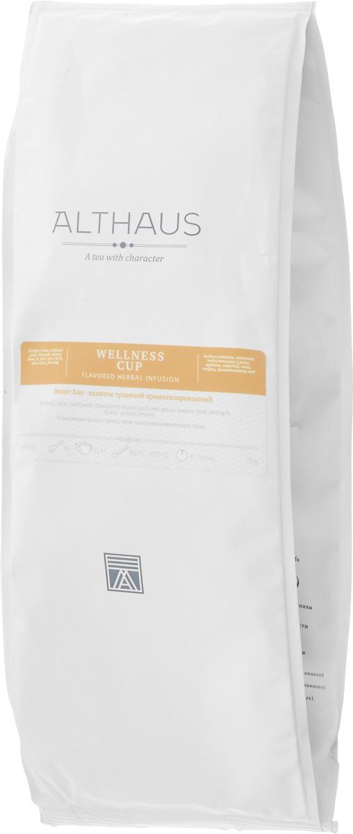 Althaus Wellness Cup травяной листовой чай, 75 гTALTHG-L00063Althaus Wellness Cup — уникальная смесь натуральных трав, дающая настой со сладким медово-цветочным ароматом и травянистой ноткой. В ее состав входят листья ежевики, которые не только придают напитку приятную, чуть терпкую сладость, но и насыщают его полезными веществами. Настои из листьев ежевики издавна использовались в народной медицине. Анис, богатый эфирными маслами, благодаря своему характерному пряному запаху оживляет композицию прохладной пикантностью и свежестью оттенков. Звучание летней композиции завершают теплые бальзамические ноты медового зверобоя и хрустальная чистота лимонно-фруктовой вербены. Естественную красоту полевых трав подчеркивает соблазнительная блюзовая нота пурпурных лепестков розы и тонкий аромат золотистого подсолнечника. Althaus Wellness Cup - это замечательная композиция трав прекрасно утолит жажду после занятий фитнесом, восстановит силы и сделает вечер особенно приятным. Температура воды: 85-100...