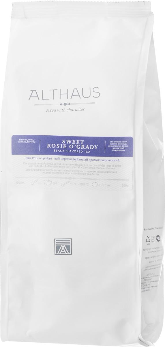 Althaus Sweet Rosie OGrady черный листовой чай, 250 гTALTHL-L00097Althaus Sweet Rosie OGrady — это замечательное сочетание сладкого хмелевого вкуса индийского чая Ассам, горького шоколада и шотландского виски с легким оттенком какао. Вкус шоколада неизмеримо глубже и многограннее вкуса многих других добавок. А в сочетании с чаем он приобретает и ярко выраженные ароматические свойства. Хрустящие кусочки шоколада насыщают напиток цветом, раскрывают в нем сладкий воздушно-сливочный аромат с кофейной нотой. Виски придает чайному букету сложность и густоту: пряность классического чая дополняется новыми оттенками вкуса — обволакивающей сладостью молочной карамели и деликатной кислинкой. Этот необычный чай приятно согревает в холодное время года и превосходно сочетается с десертами. Оптимальная температура заваривания: 95°С Температура воды: 85-100 °С Время заваривания: 3-5 мин Цвет в чашке: шоколадно-коричневый