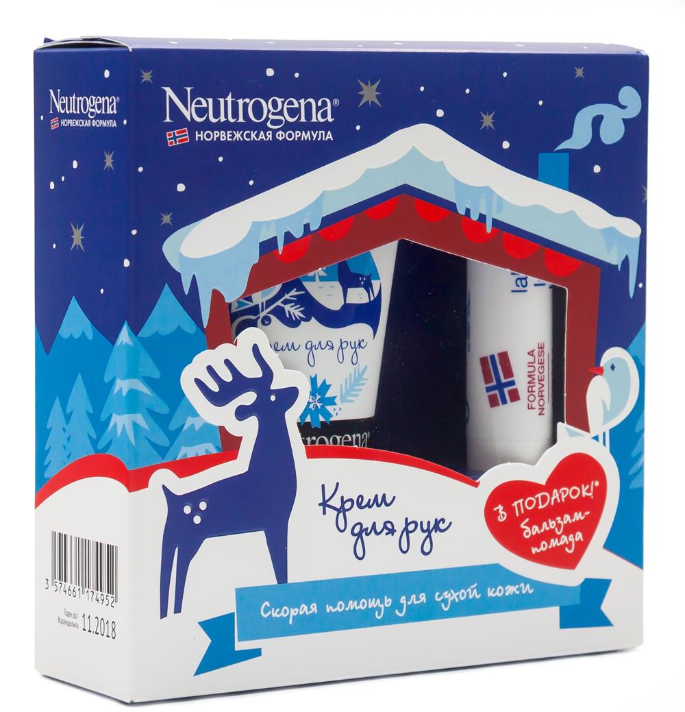 Neutrogena Подарочный набор Норвежская формула: Крем для рук с запахом, 50мл + ПОДАРОК: Бальзам-помада, 4,8г