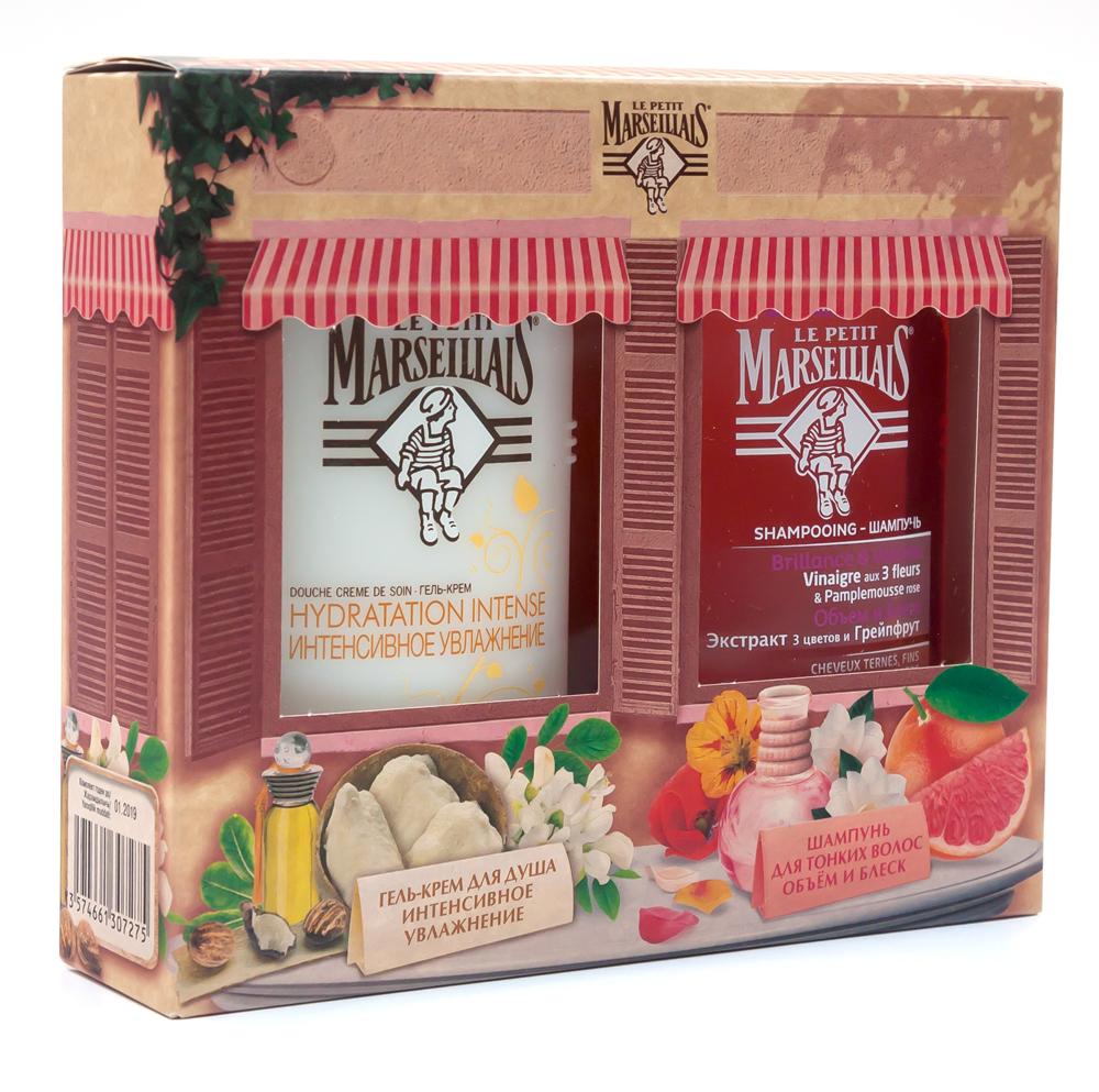 Le Petit Marseillais Подарочный набор: Гель-крем для душа Интенсивное увлажнение. Акация и масло Карите, 250мл + Шампунь Объем и Блеск. Экстракт трех цветов и Грейпфрут, 250мл