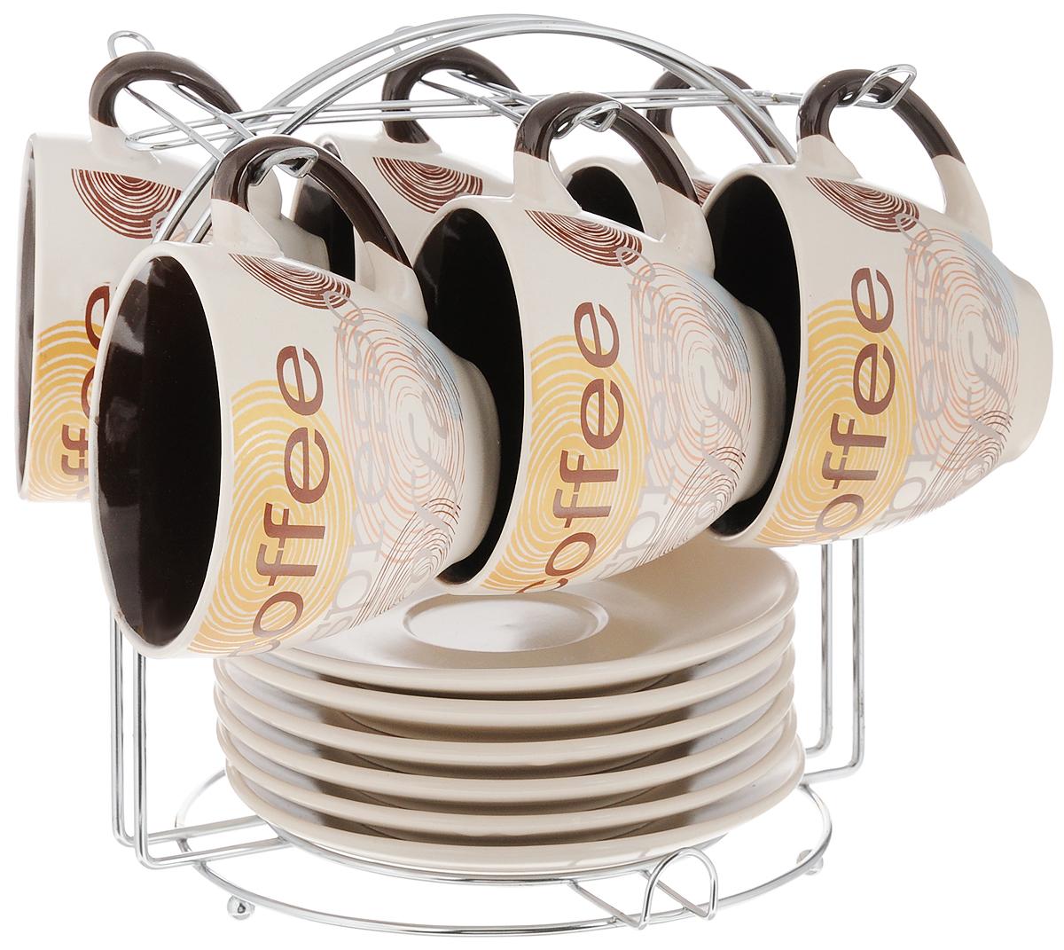 Набор кофейный Loraine, на подставке, 13 предметов. 2353623536Кофейный набор Loraine состоит из 6 чашек и 6 блюдец. Изделия выполнены из высококачественной керамики и оформлены стильным рисунком Кофе. Набор выполнен в красивых кофейных тонах. Теплостойкие ручки обеспечивают комфорт во время использования. Изящный дизайн придется по вкусу и ценителям классики, и тем, кто предпочитает утонченность и изысканность. Кофе, сервированный в такой посуде, настроит на позитивный лад и подарит хорошее настроение. В комплекте предусмотрена металлическая подставка. Кофейный набор Loraine - идеальный и необходимый подарок для вашего дома и для ваших друзей в праздники. Можно мыть в посудомоечной машине, использовать в микроволновой печи, а также ставить в холодильник. Объем чашки: 220 мл. Диаметр чашки (по верхнему краю): 8,5 см. Высота чашки: 7,5 см. Диаметр блюдца: 14,5 см. Размер подставки: 19 х 19 х 20 см.