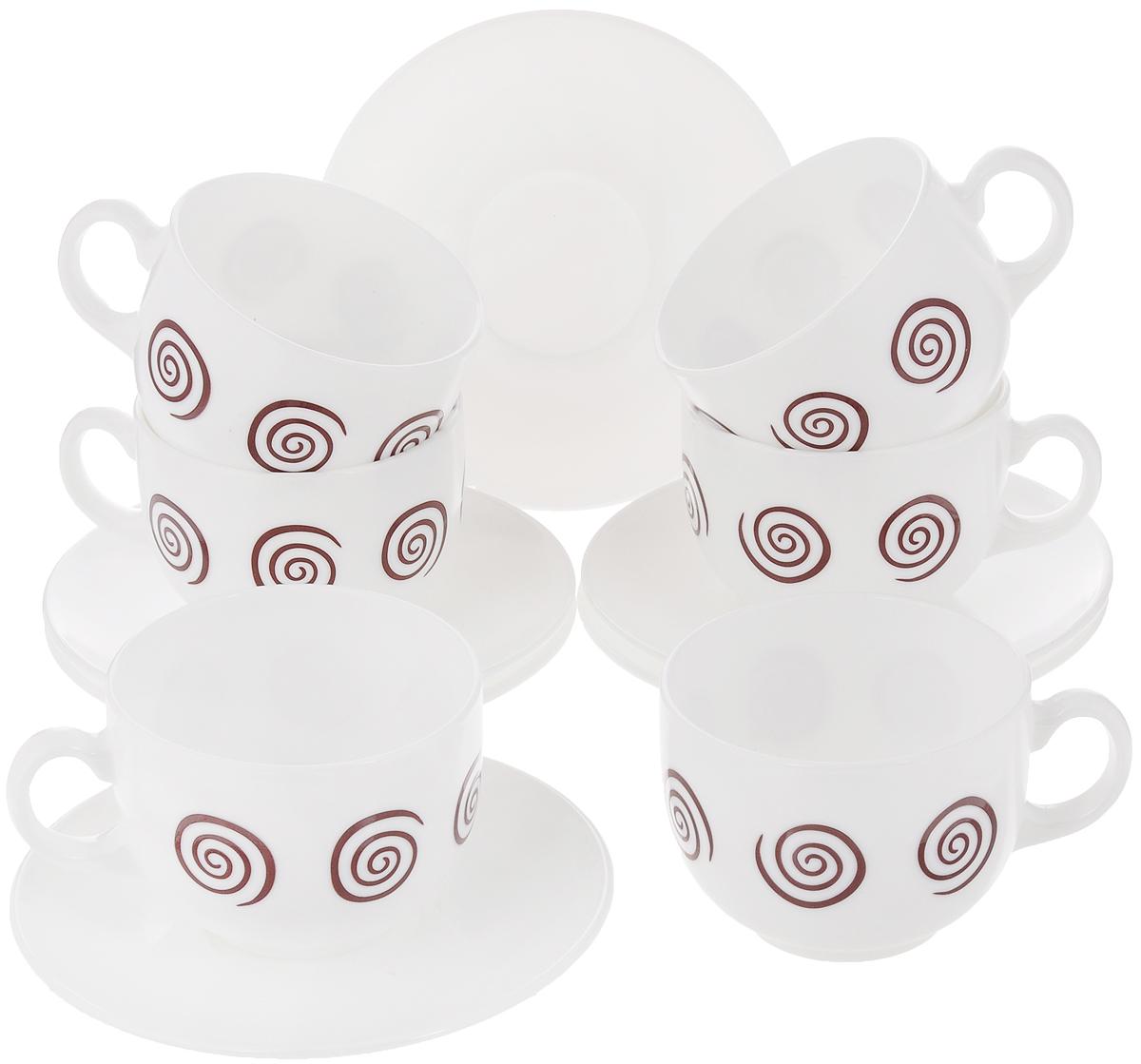 Набор чайный Luminarc Sirocco Brown, 12 предметовG4126Чайный набор Luminarc Sirocco Brown состоит из 6 чашек и 6 блюдец. Изделия, выполненные из высококачественного ударопрочного стекла, имеют элегантный дизайн с красивым рисунком. Посуда отличается прочностью, гигиеничностью и долгим сроком службы, она устойчива к появлению царапин и резким перепадам температур. Такой набор прекрасно подойдет как для повседневного использования, так и для праздников. Чайный набор Luminarc Sirocco Brown - это не только яркий и полезный подарок для родных и близких, это также великолепное дизайнерское решение для вашей кухни или столовой. Объем чашки: 220 мл. Диаметр чашки (по верхнему краю): 8 см. Высота чашки: 6,5 см. Диаметр блюдца: 13 см.