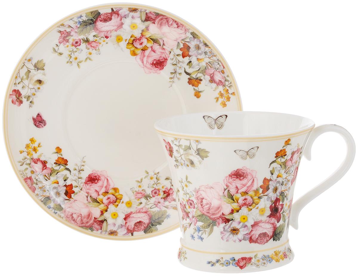 Чайная пара Nuova R2S Цветочный карнавал, цвет: белый, розовый, зеленый, 2 предметаR2S1357/BLOC-ALЧайная пара Nuova R2S Цветочный карнавал состоит из чашки и блюдца, изготовленных из высококачественного фарфора. Изделия оформлены золотистой каймой и имеют изысканный внешний вид. Такой набор прекрасно дополнит сервировку стола к чаепитию и подчеркнет ваш безупречный вкус. Объем чашки: 300 мл. Диаметр чашки по верхнему краю: 10,5 см. Высота чашки: 9,5 см. Диаметр блюдца: 17,3 см.