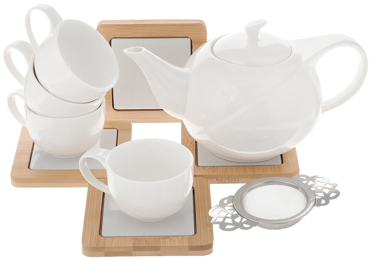 Набор чайный EcoWoo, 9 предметов2012246UЧайный набор EcoWoo - это не только идеальный подарок, но и прекрасный повод побаловать себя! Набор состоит из 4 чашек, 4 бамбуковых подставок и заварочного чайника с фильтром. Такой набор станет идеальным решением для ценителей экологичных деталей в интерьере и поклонников здорового образа жизни. Объем чайника: 600 мл. Диаметр чайника (по верхнему краю): 7 см. Высота чайника (без учета крышки): 9,5 см. Объем чашки: 75 мл. Диаметр чашки (по верхнему краю): 6,8 см. Высота чашки: 5 см. Размер подставки: 10 х 10 см.