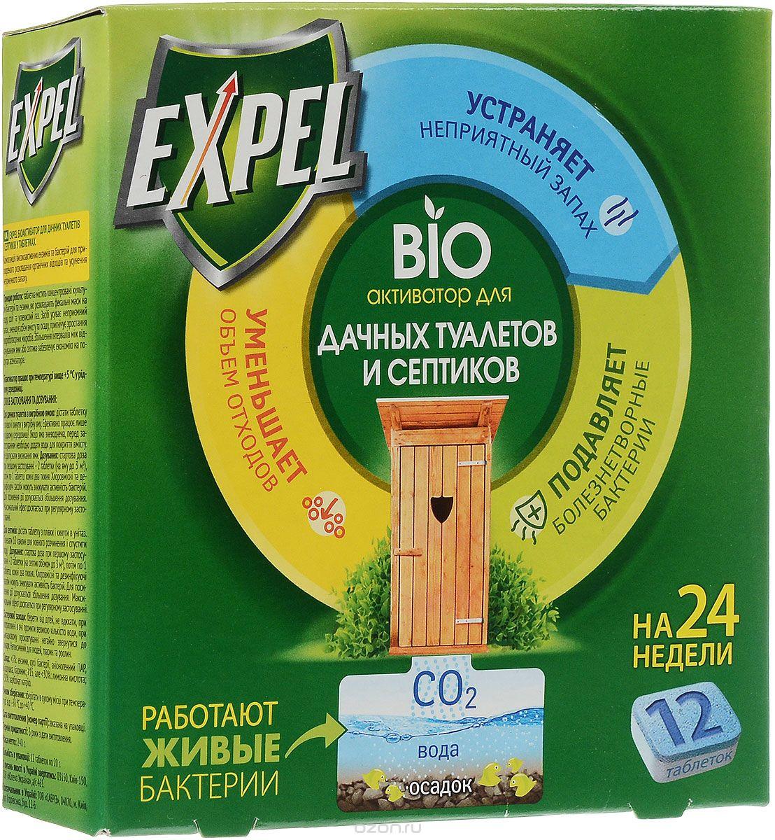 Биоактиватор Expel для дачных туалетов и септиков, 12 таблетокTT0004Биоактиватор Expel содержит концентрированные культуры бактерий. Которые разлагают фекальные массы на воду, углекислый газ и соли. Средство устраняет неприятный запах, уменьшает объем содержимого и осадка, подавляет рост болезнетворных микробов. Увеличение интервалов между откачками ямы или септика обеспечивает экономию на услугах ассенизаторов. Способ применения: Для дачных туалетов с выгребной ямой: извлечь таблетку из пленки и бросить в выгребную яму. Биоактиватор эффективно работает только в жидкой среде. Если яма обезвожена, необходимо добавить воды для покрытия содержимого. Не допускать высыхания ямы. Для септиков: извлечь таблетку из пленки и бросить в унитаз. Подождать 10 минут для полного растворения и спустить воду. Дозировка: стартовая доза при первом применении - 2 таблетки (на яму или септик до 3 м3), затем по 1 таблетке каждые 2 недели. Характеристики: Состав: сухие бактерии, энзимы, карбонат натрия, лимонная кислота, анионогенный...