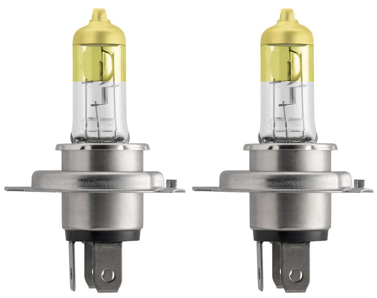 Лампа автомобильная галогенная Philips ColorVision Yellow, для фар, цоколь H4 (P43t), 12V, 60/55W, 2 шт12342CVPYS2Галогенная лампа для автомобильных фар Philips ColorVision произведена из запатентованного кварцевого стекла с УФ фильтром Philips Quartz Glass. Кварцевое стекло Philips в отличие от обычного твердого стекла выдерживает гораздо большее давление смеси газов внутри колбы, что препятствует быстрому испарению вольфрама с нити накаливания. Кварцевое стекло выдерживает большой перепад температур, при попадании влаги на работающую лампу изделие не взрывается и продолжает работать. Лампа ColorVision придает автомобильной фаре желтый оттенок, при этом она излучает яркий белый свет. Лампа отражает свет, направляя его через оптические элементы, и создает интересные цветные эффекты. Такие лампы обеспечивают на 60% больше света и увеличивают видимость до 25 метров (по сравнению с обычными лампами). Эти инновационные цветные автомобильные лампы сертифицированы для использования на дорогах. Они соответствуют европейским стандартам и обеспечивают прекрасное освещение, излучая...