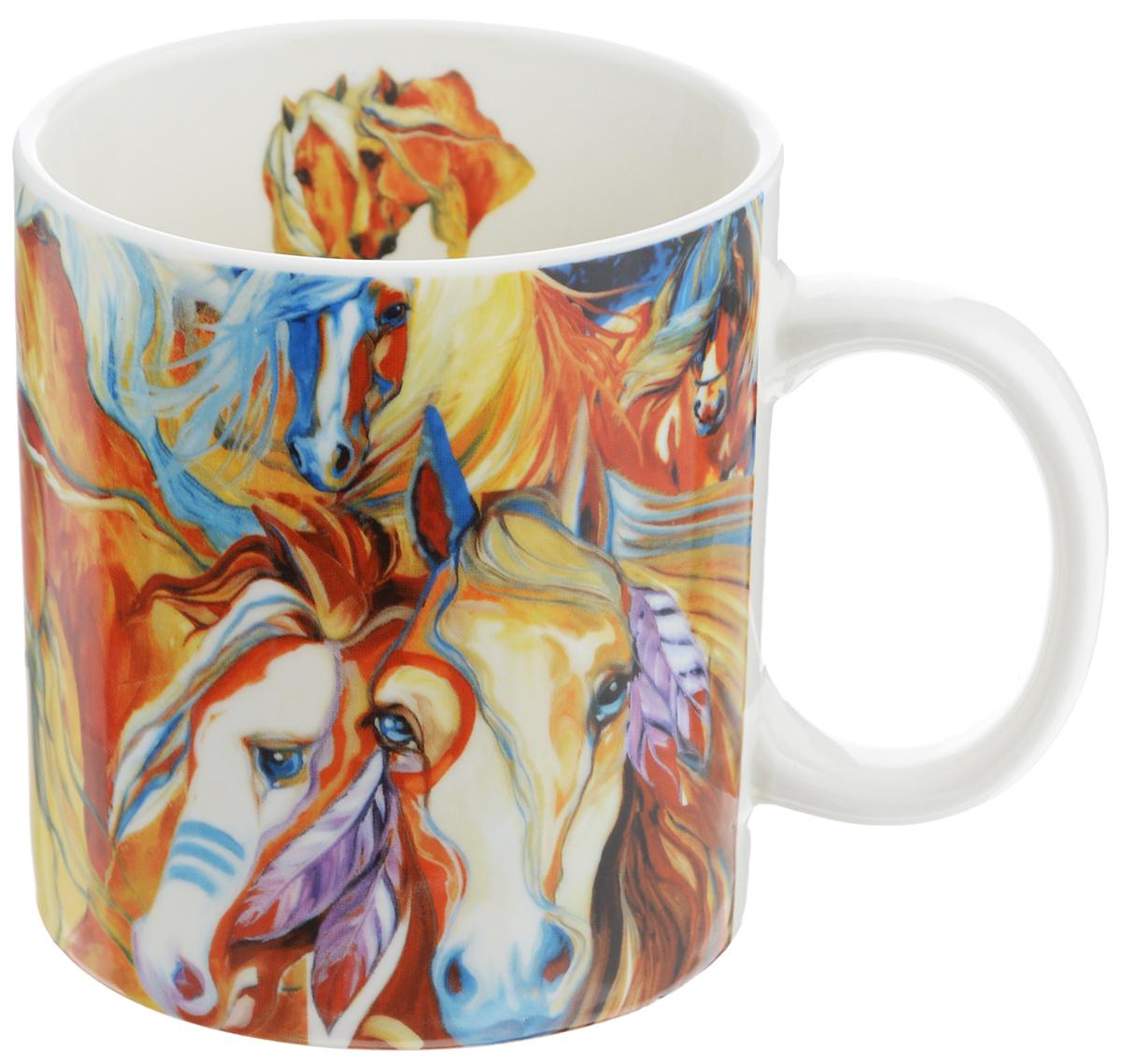Кружка GiftLand Фантазии о лошадях, 700 млG013-3 HorseКружка GiftLand Фантазии о лошадях изготовлена из костяного фарфора и оформлена красочным изображением лошадей. Оригинальная кружка порадует вас ярким дизайном и станет неизменным атрибутом чаепития. Прекрасно подойдет в качестве сувенира. Диаметр кружки: 10 см. Высота: 11 см. Объем: 700 мл.