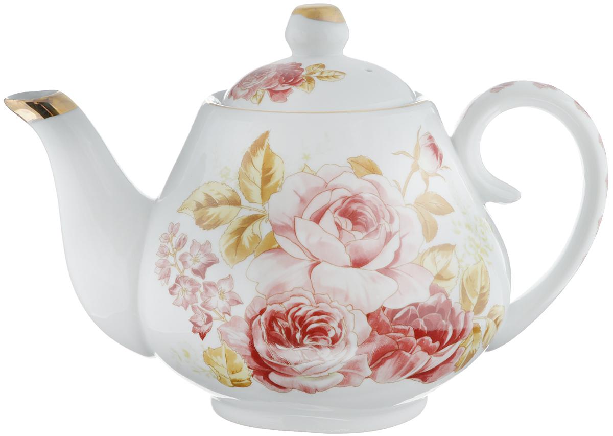 Чайник заварочный Loraine Розы, 1 л. 2456024560Заварочный чайник Loraine Розы изготовлен из высококачественной керамики. Внешние стенки оформлены красочным изображением роз и золотистым орнаментом. Гладкая и идеально ровная поверхность обеспечивает легкую очистку. Чайник поможет заварить крепкий ароматный чай и изысканно украсит стол к чаепитию. Изделие упаковано в подарочную коробку с атласной подложкой. Диаметр чайника (по верхнему краю): 7,5 см. Высота чайника (без учета крышки): 10 см.