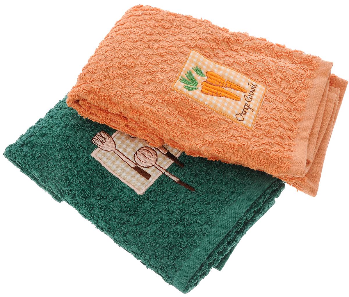 Набор махровых полотенец Bonita Солнечный, 40 см х 60 см, 2 шт20100313373_зеленый, оранжевый