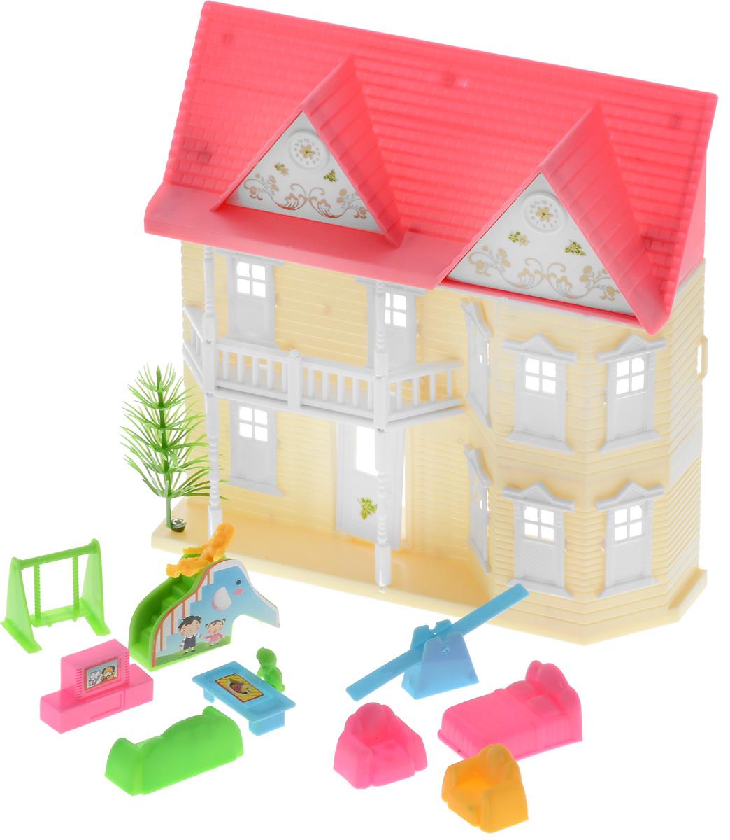 ABtoys Дом для кукол цвет молочный розовыйPT-00137(08008A-1)ст_серый молочный розовыйШикарный дом для маленьких кукол ABtoys привлечет внимание вашей малышки и не позволит ей скучать. Домик выполнен из прочного безопасного пластика. Замечательный дом оснащен окошками, балконами и открывающейся дверью. В наборе с домиком имеется множество аксессуаров: кровать, диван, 2 кресла, 2 маленькие фигурки, тумба с телевизором, чайный столик, 2 качели, горка. Фигурки могут сгибаться в талии, благодаря чему их можно посадить на диванчик или кресла. Качельки из набора подвижные. Такой набор придется по душе вашему ребенку. Порадуйте свою принцессу таким замечательным подарком!