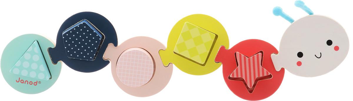 Janod Сортер Малышка гусеничкаJ08019Сортер Janod Малышка-гусеничка - это яркая развивающая игрушка для самых маленьких. Она выполнена из натурального дерева, является экологически чистой и безопасной для ребенка. 6 круглых частей скрепляются друг с другом с помощью пазов и образуют милую очаровательную гусеничку. На каждой из сборных частей имеется углубление определенной формы, куда вставляется соответствующая фигура. Малыш сможет ознакомиться с такими геометрическими фигурами, как треугольник, ромб, звездочка, круг, квадрат. Игрушка поможет развить мелкую моторику, познакомит с цветами и формами.