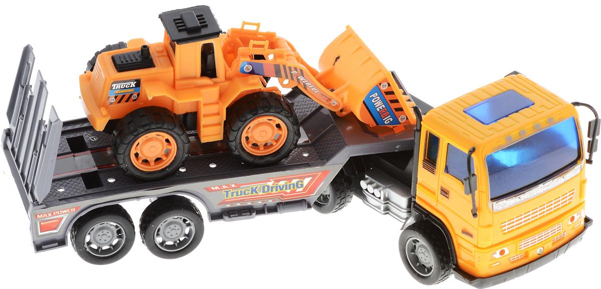 Junfa Toys Автовоз инерционный с погрузчиком Excellent Transport Car8268-2_оранжевый, серыйИнерционный автовоз Junfa Toys Excellent Transport Car обязательно привлечет внимание вашего ребенка. Игрушка выполнена из прочного пластика в виде мощного автовоза с полуприцепом. Полуприцеп оснащен опускающимся пандусом для удобной загрузки перевозимой техники и может отсоединяться от автовоза. В комплекте с автовозом также идет небольшой погрузчик, который без труда поместится на полуприцеп. Ковш погрузчика сгибается. Автовоз оснащен инерционным механизмом. Достаточно немного подтолкнуть игрушку вперед или назад, а затем отпустить, и автовоз сам поедет в том же направлении. Малыш проведет с этой игрушкой много увлекательных часов, придумывая различные истории. Ваш ребенок будет в восторге от такого подарка!