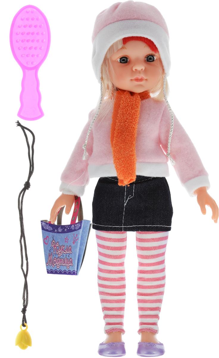 ABtoys Кукла Модница в джинсовой юбкеPT-00371Очаровательная кукла ABtoys Модница станет лучшей подружкой вашей малышки. Куколка одета в розовую кофточку и короткую джинсовую юбку. На ногах куклы полосатые лосины и сиреневые туфельки. Модный образ дополняют теплая шапочка в тон кофте и оранжевый шарфик. У куклы светлые волосы, которые можно расчесывать. Вместе с куклой в набор входят: расческа, картонная сумочка и ожерелье. Выразительный внешний вид и аккуратное исполнение куклы делает ее идеальным подарком для любой девочки. Порадуйте свою малышку таким великолепным подарком!