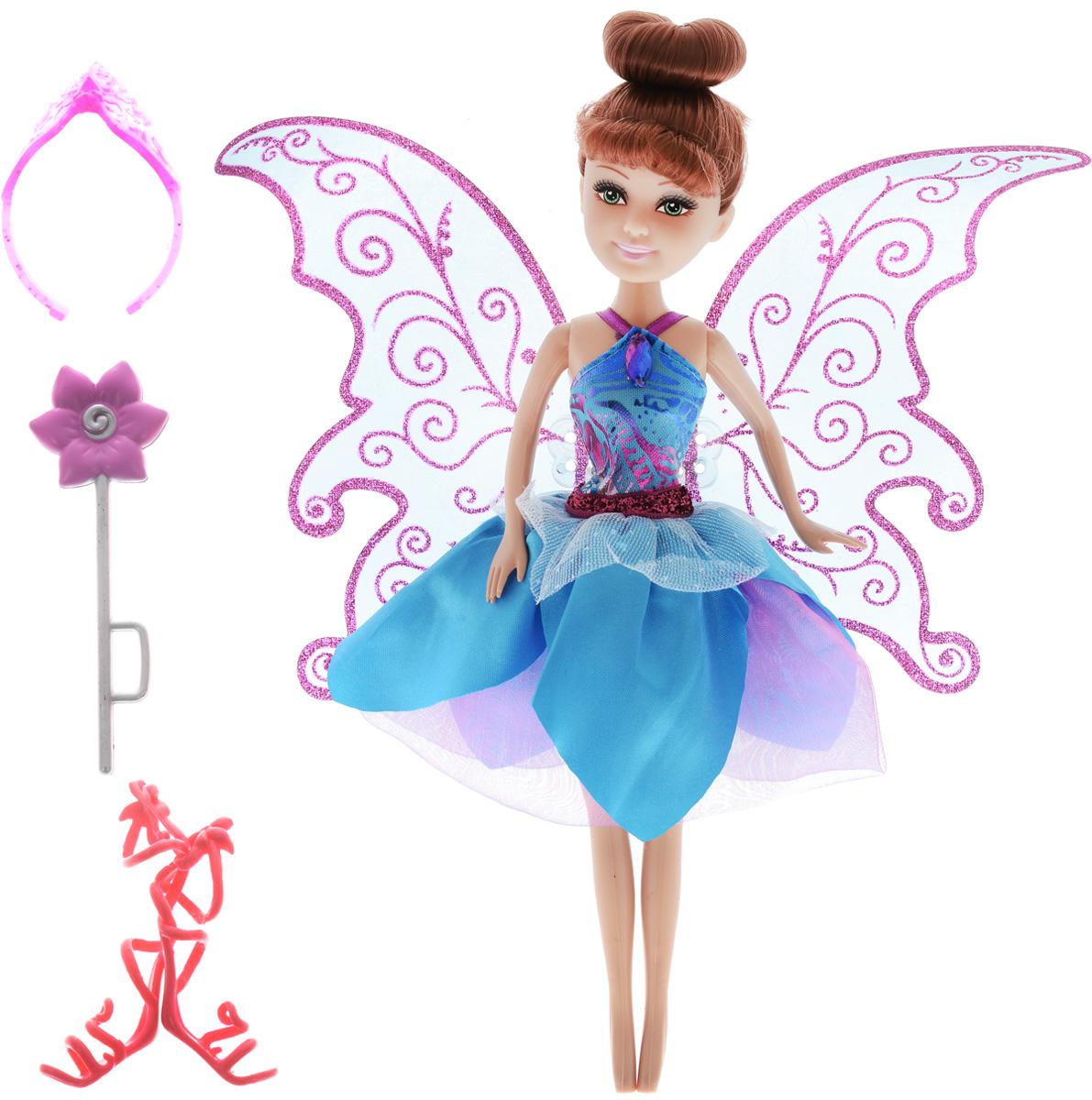 Funville Кукла Flutter Wings Fairy цвет платья голубой24048_цвет платья голубойОчаровательная кукла Funville Flutter Wings Fairy непременно понравится вашей малышке и станет одной из ее любимых игрушек. Кукла одета в волшебное платье с пышной многослойной юбкой и блестящими полупрозрачными крылышками. Крылышки можно с легкостью снять. Шикарные длинные волосы куклы можно расчесывать и убирать в красивые прически. Голова, руки и ноги куклы подвижны. В комплект с куклой входят оригинальные босоножки красного цвета, розовая корона и пластиковый цветочек. Ваша малышка придет в восторг от такого подарка, и с удовольствием будет играть с куколкой, которая готова унести ее в мир сказочных фантазий.