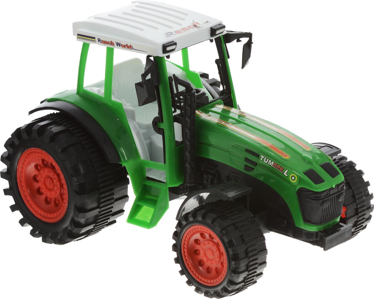 Junfa Toys Трактор инерционный Ranch World цвет зеленый0488-97_зеленыйИнерционный трактор Junfa Toys Ranch World станет отличным подарком на любой праздник. Игрушка выполнена из прочных и безопасных для ребенка материалов. Пластиковые колеса хорошо прокручиваются без какого-либо торможения и проскальзывания. У трактора имеется лестница, по которой небольшая фигурка какого-либо жителя игрушечного города сможет подниматься в кабину. Кроме того, трактор оснащен инерционным механизмом, что сделает игру еще интереснее. Чтобы он самостоятельно поехал вперед, поставьте трактор на ровную поверхность, слегка подтолкните вперед или назад, а затем отпустите, и он сам поедет в том же направлении. Порадуйте своего ребенка такой замечательной игрушкой.