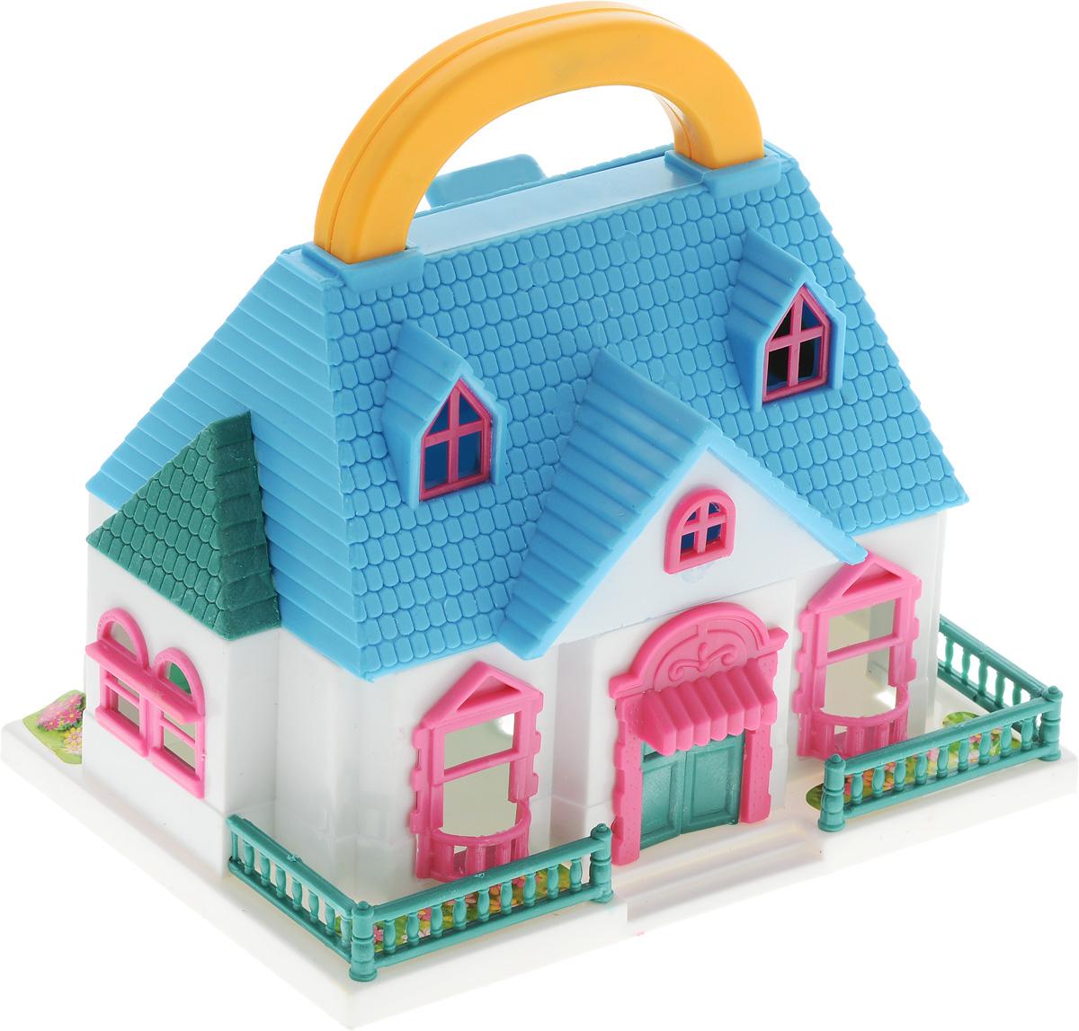 ABtoys Дом для кукол цвет белый голубойPT-00228_белый, голубойДом для кукол ABtoys с удобной ручкой для переноски просто необходим для веселой жизни куколок! Домик выполнен из прочного безопасного пластика. Дом имеет красивый фасад, маленький заборчик и оснащен откидным балконом и садом. В наборе имеются две фигурки и множество аксессуаров, которыми можно обустроить жилище. Набор поможет детям представить себя в роли дизайнера, занимающегося обстановкой и декором домика для любимой куколки, а также станет главным атрибутом для увлекательных сюжетно-ролевых игр. Такой набор непременно придется по душе вашему ребенку. Порадуйте свою принцессу таким замечательным подарком!